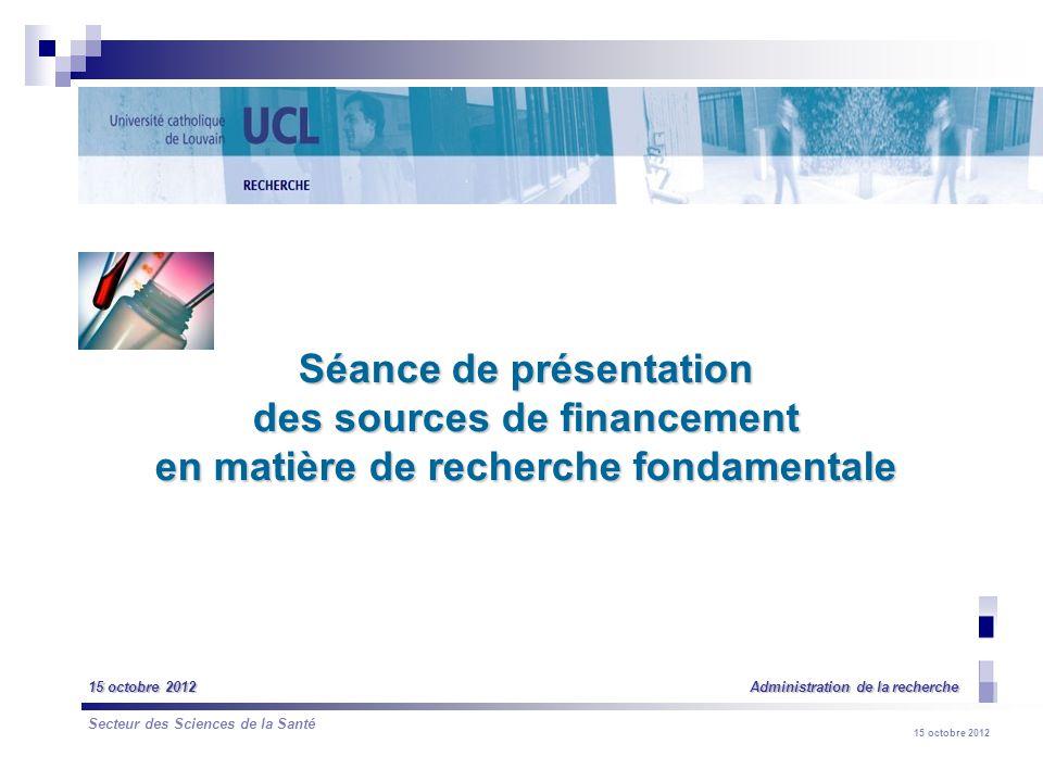 15 octobre 2012 LAdministration de la recherche Promotion de la recherche fondamentale et appliquée (support à la recherche et financement de la recherche) Contribution à la valorisation des résultats de la recherche et au transfert de technologie (dans le cadre du LTTO) et contribution au développement régional Objectifs :