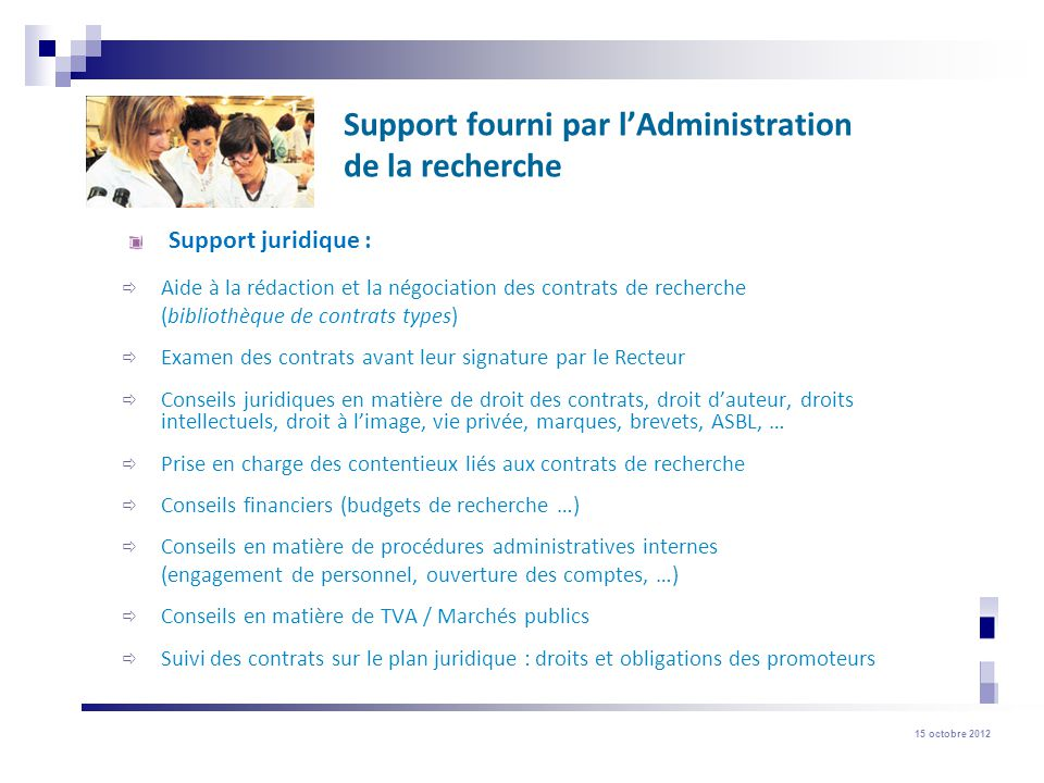 15 octobre 2012 Fonds Spéciaux de Recherche (FSR) 6) Incitants ERC Starting et Consolidator Grant (budget disponible: 300.000) Quoi.