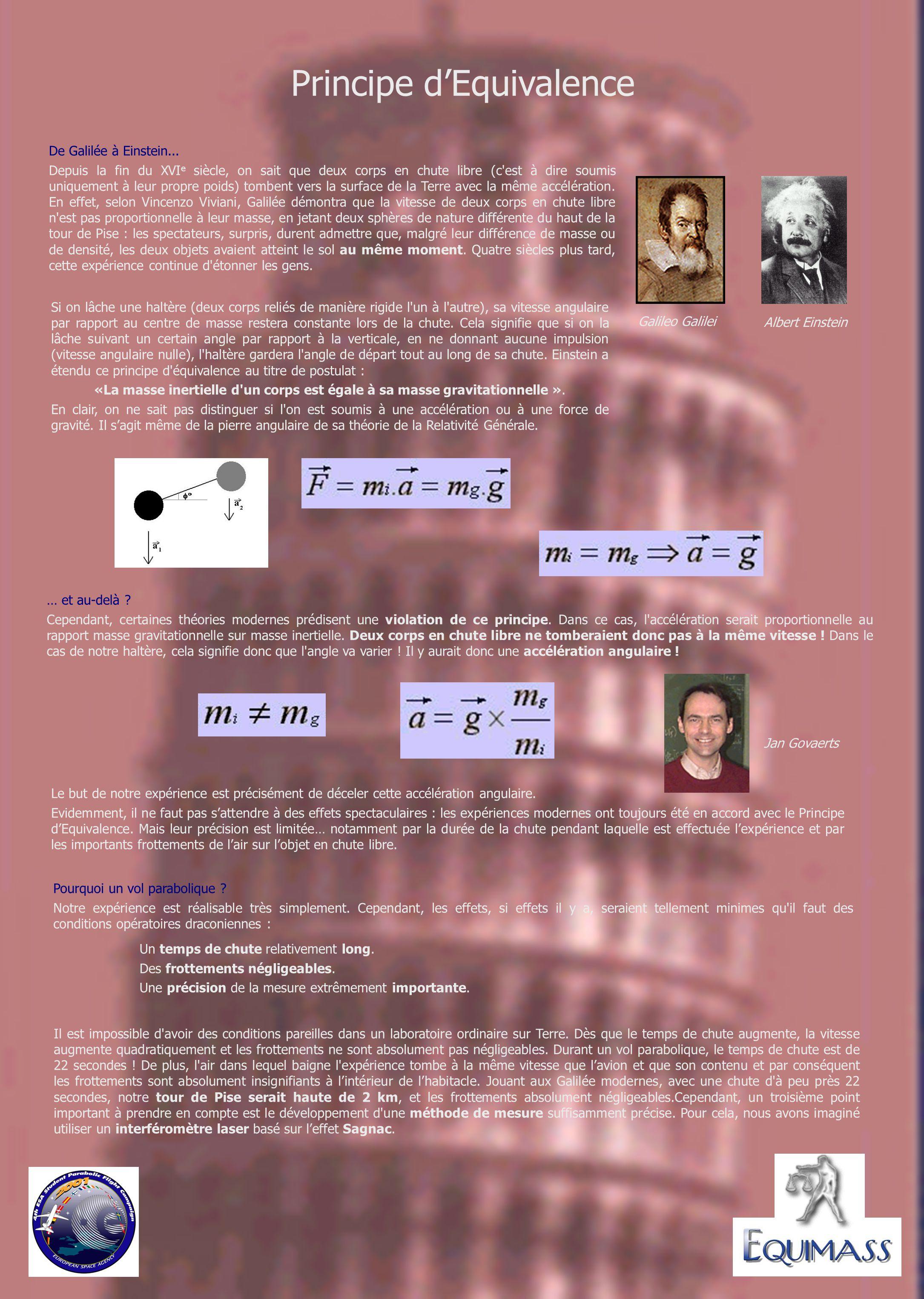 De Galilée à Einstein... Depuis la fin du XVI e siècle, on sait que deux corps en chute libre (c'est à dire soumis uniquement à leur propre poids) tom