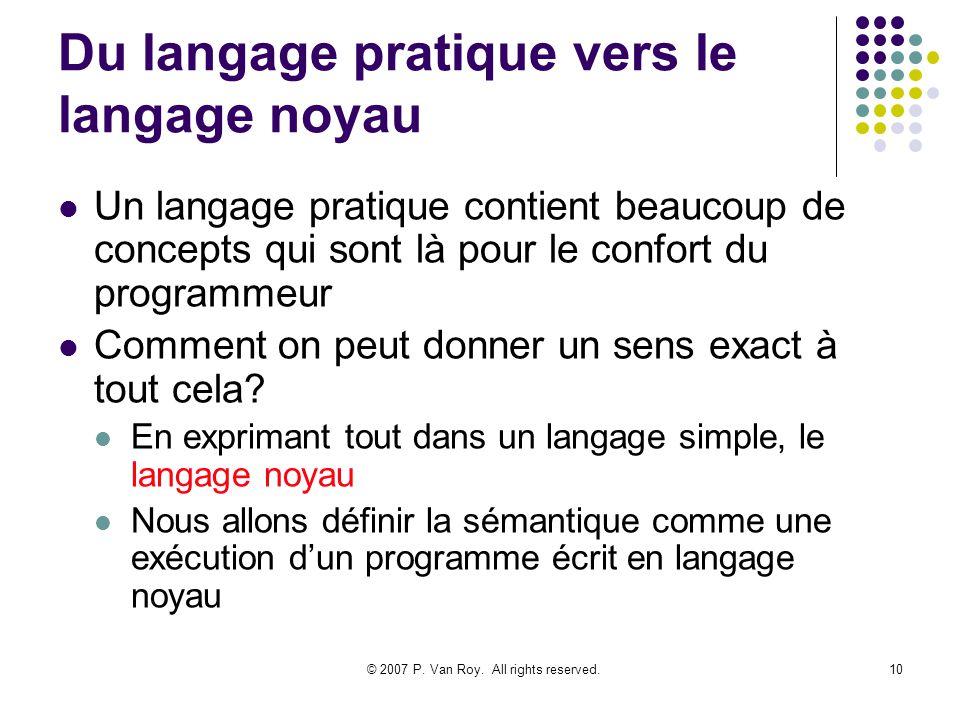 © 2007 P. Van Roy. All rights reserved.10 Du langage pratique vers le langage noyau Un langage pratique contient beaucoup de concepts qui sont là pour