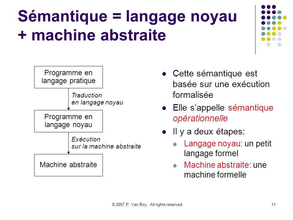 © 2007 P. Van Roy. All rights reserved.11 Sémantique = langage noyau + machine abstraite Cette sémantique est basée sur une exécution formalisée Elle