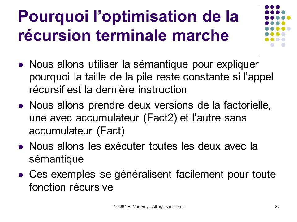 © 2007 P. Van Roy. All rights reserved.20 Pourquoi loptimisation de la récursion terminale marche Nous allons utiliser la sémantique pour expliquer po