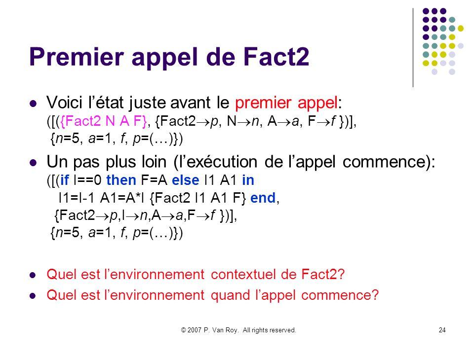 © 2007 P. Van Roy. All rights reserved.24 Premier appel de Fact2 Voici létat juste avant le premier appel: ([({Fact2 N A F}, {Fact2 p, N n, A a, F f }