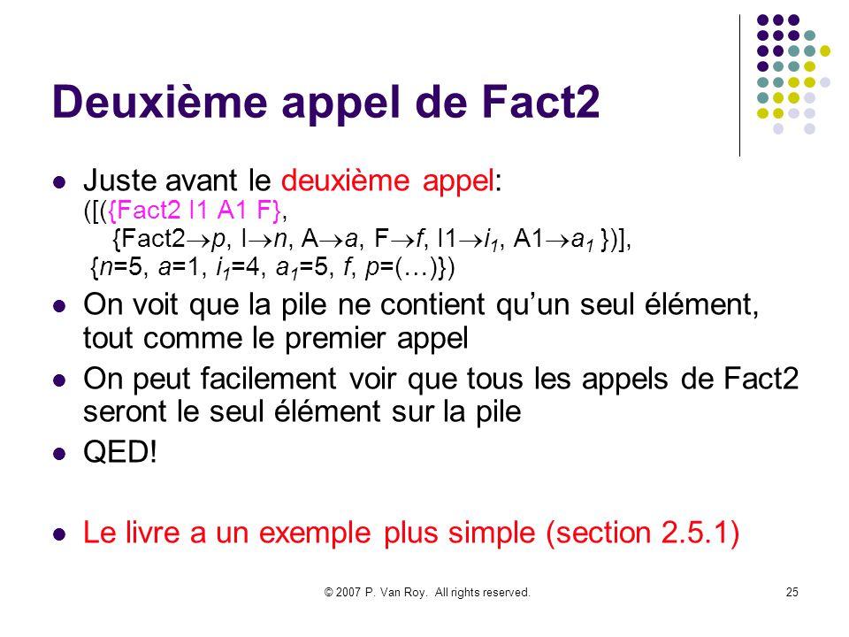 © 2007 P. Van Roy. All rights reserved.25 Deuxième appel de Fact2 Juste avant le deuxième appel: ([({Fact2 I1 A1 F}, {Fact2 p, I n, A a, F f, I1 i 1,