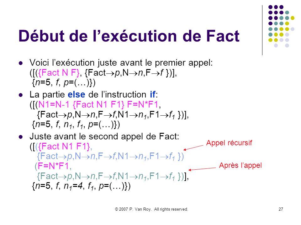 © 2007 P. Van Roy. All rights reserved.27 Début de lexécution de Fact Voici lexécution juste avant le premier appel: ([({Fact N F}, {Fact p,N n,F f })