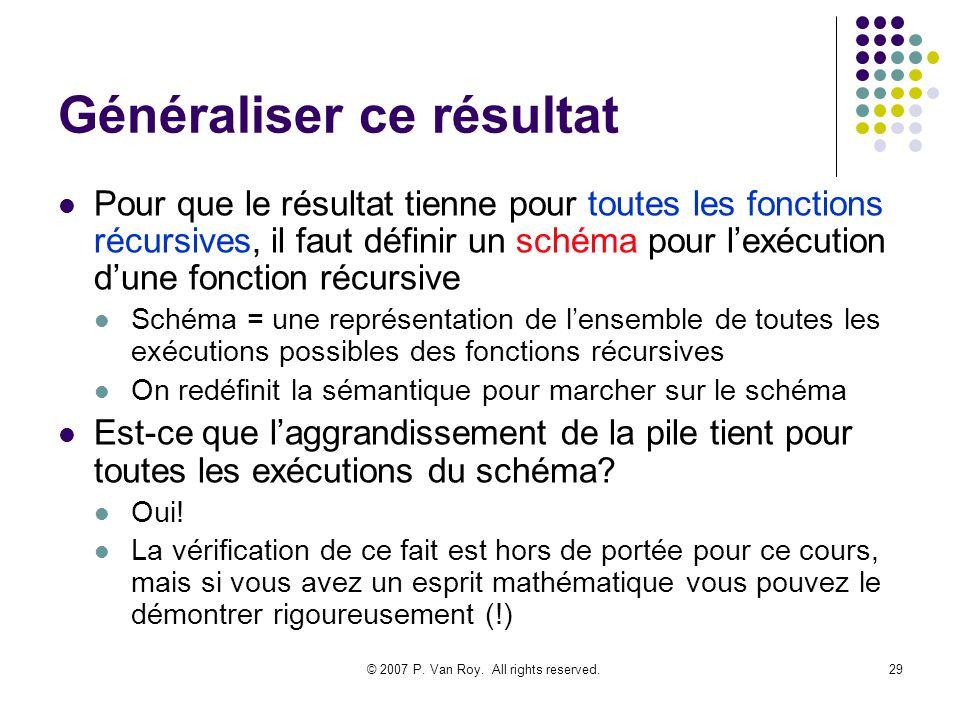 © 2007 P. Van Roy. All rights reserved.29 Généraliser ce résultat Pour que le résultat tienne pour toutes les fonctions récursives, il faut définir un