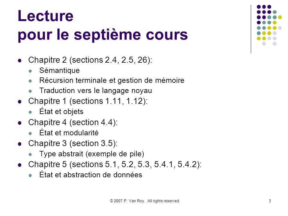 © 2007 P. Van Roy. All rights reserved.3 Lecture pour le septième cours Chapitre 2 (sections 2.4, 2.5, 26): Sémantique Récursion terminale et gestion