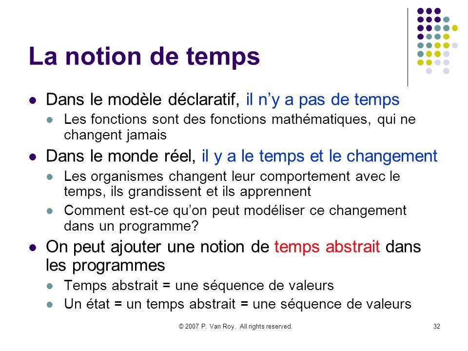 © 2007 P. Van Roy. All rights reserved.32 La notion de temps Dans le modèle déclaratif, il ny a pas de temps Les fonctions sont des fonctions mathémat