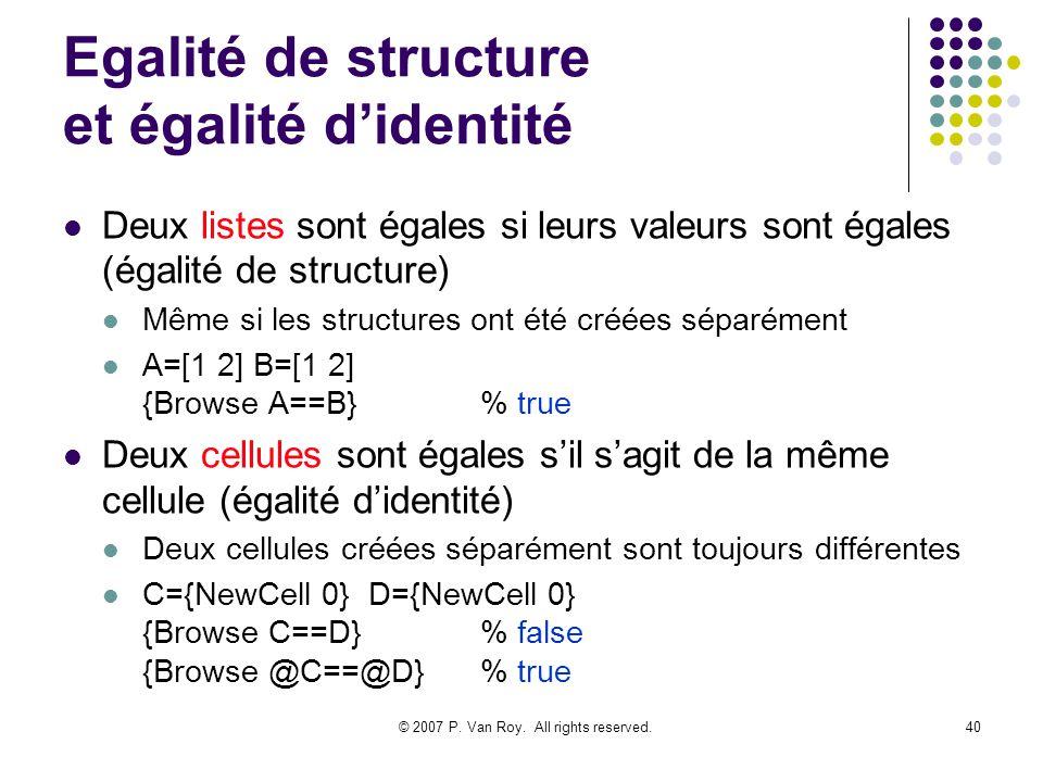 © 2007 P. Van Roy. All rights reserved.40 Egalité de structure et égalité didentité Deux listes sont égales si leurs valeurs sont égales (égalité de s