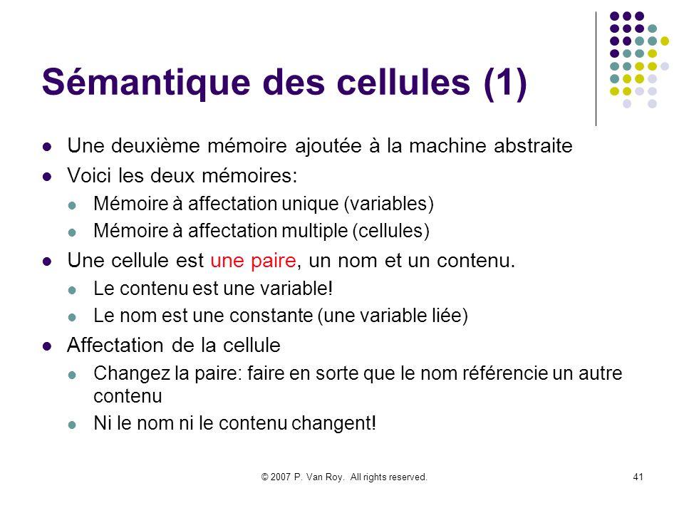 © 2007 P. Van Roy. All rights reserved.41 Sémantique des cellules (1) Une deuxième mémoire ajoutée à la machine abstraite Voici les deux mémoires: Mém