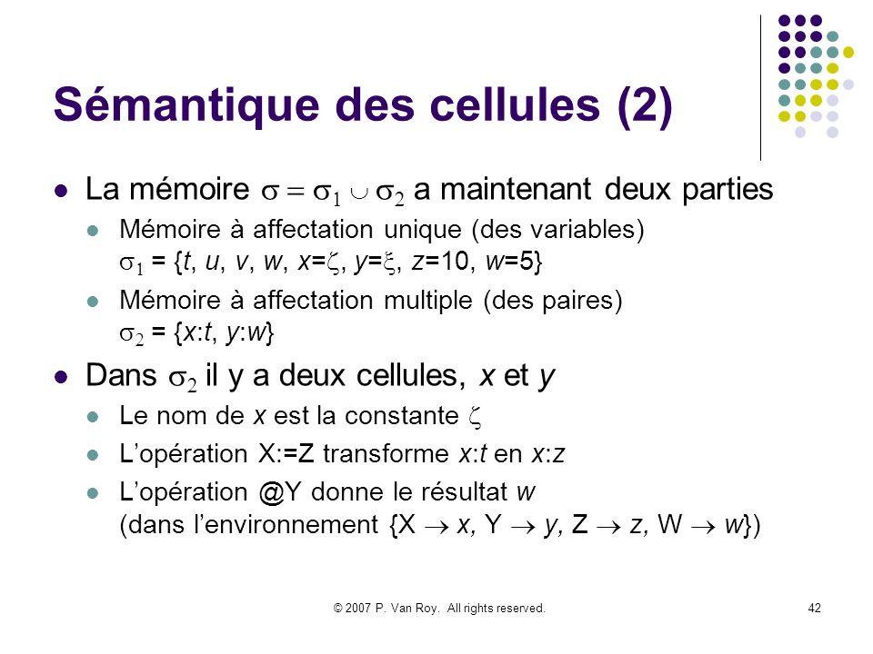 © 2007 P. Van Roy. All rights reserved.42 Sémantique des cellules (2) La mémoire a maintenant deux parties Mémoire à affectation unique (des variables