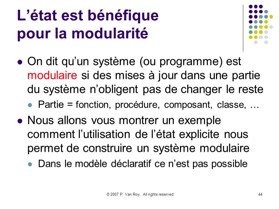 © 2007 P. Van Roy. All rights reserved.44 Létat est bénéfique pour la modularité On dit quun système (ou programme) est modulaire si des mises à jour