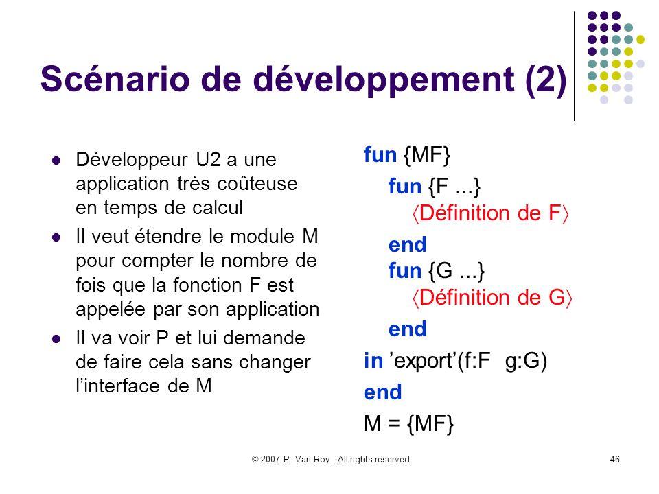© 2007 P. Van Roy. All rights reserved.46 Scénario de développement (2) Développeur U2 a une application très coûteuse en temps de calcul Il veut éten