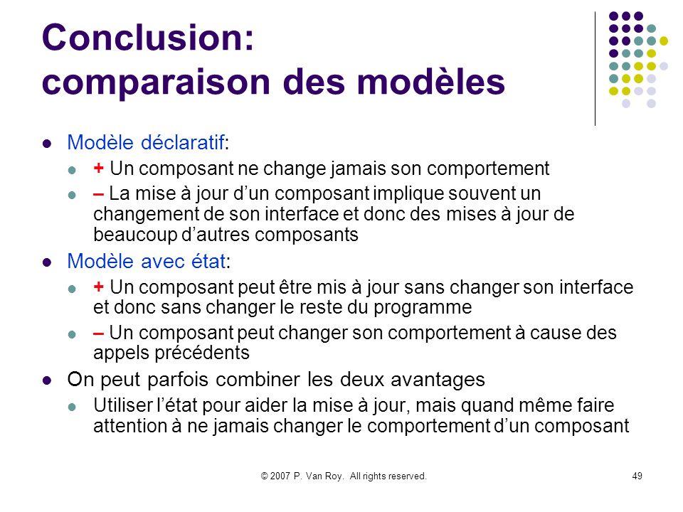 © 2007 P. Van Roy. All rights reserved.49 Conclusion: comparaison des modèles Modèle déclaratif: + Un composant ne change jamais son comportement – La