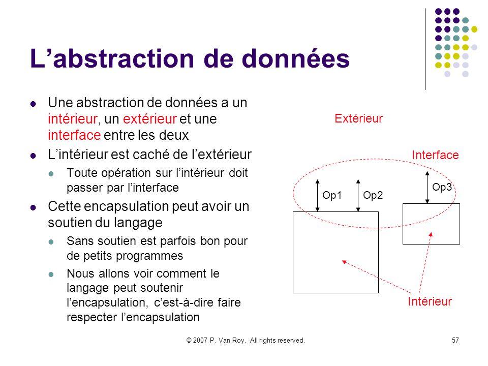 © 2007 P. Van Roy. All rights reserved.57 Labstraction de données Une abstraction de données a un intérieur, un extérieur et une interface entre les d