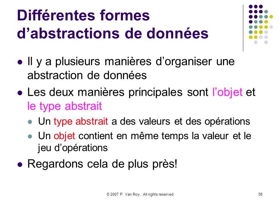 © 2007 P. Van Roy. All rights reserved.58 Différentes formes dabstractions de données Il y a plusieurs manières dorganiser une abstraction de données