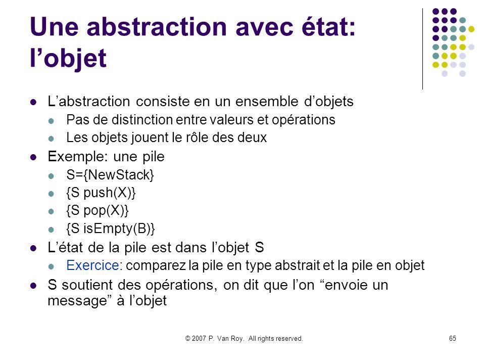 © 2007 P. Van Roy. All rights reserved.65 Une abstraction avec état: lobjet Labstraction consiste en un ensemble dobjets Pas de distinction entre vale