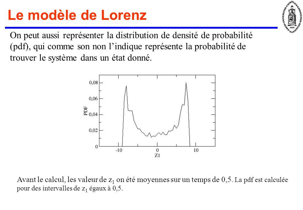 Le modèle de Lorenz On peut aussi représenter la distribution de densité de probabilité (pdf), qui comme son non lindique représente la probabilité de