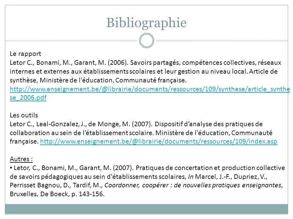 Bibliographie Le rapport Letor C., Bonami, M., Garant, M. (2006). Savoirs partagés, compétences collectives, réseaux internes et externes aux établiss
