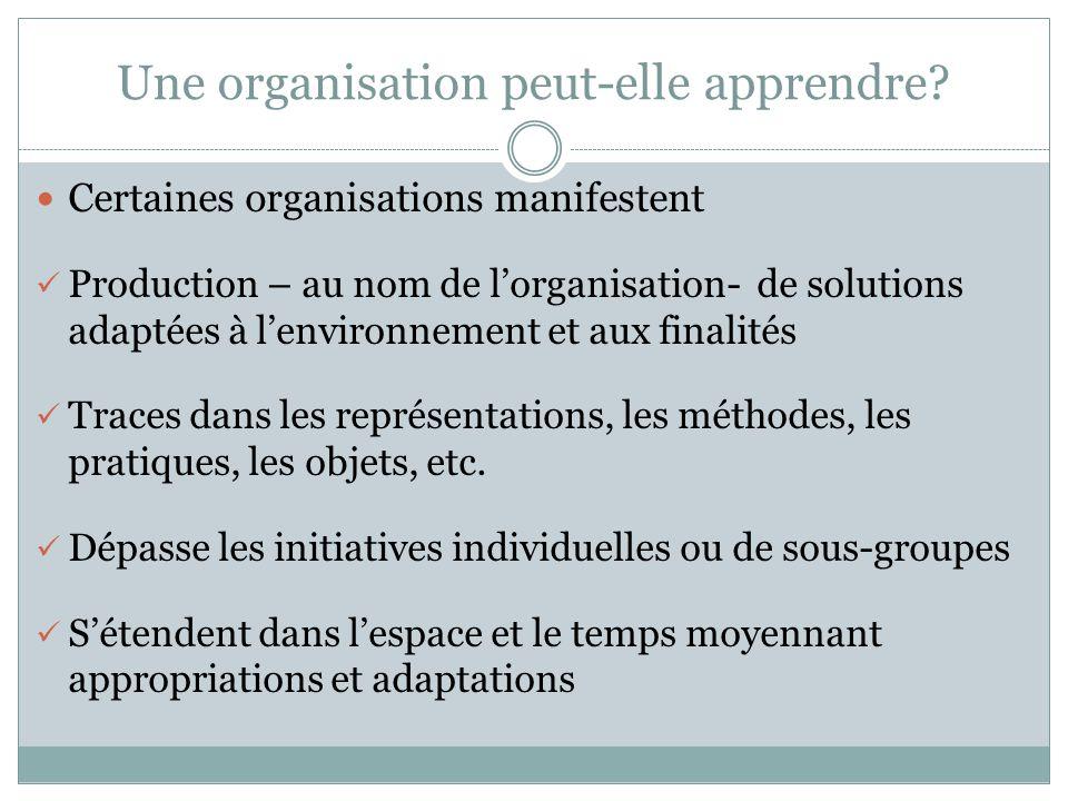 Certaines organisations manifestent Production – au nom de lorganisation- de solutions adaptées à lenvironnement et aux finalités Traces dans les repr