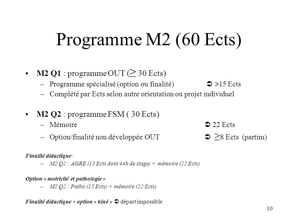 10 Programme M2 (60 Ects) M2 Q1 : programme OUT ( 30 Ects) –Programme spécialisé (option ou finalité) 15 Ects –Complété par Ects selon autre orientati