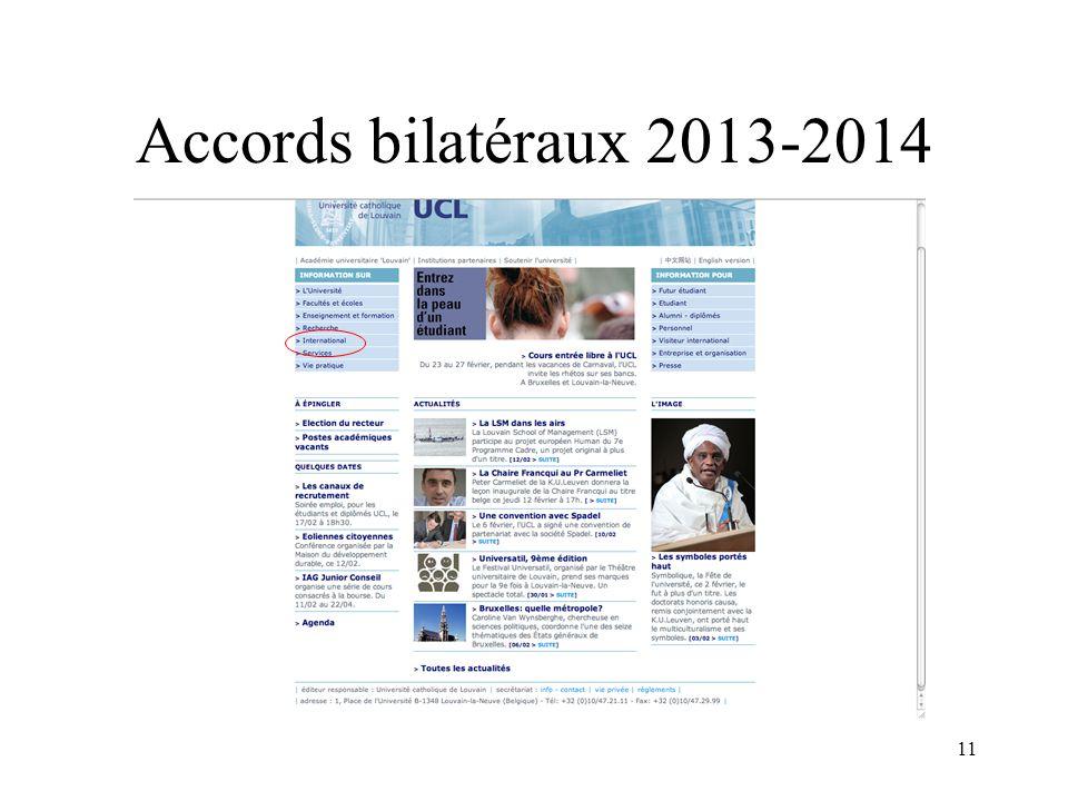11 Accords bilatéraux 2013-2014