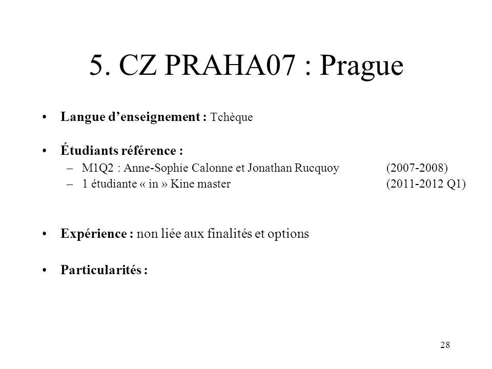 28 5. CZ PRAHA07 : Prague Langue denseignement : Tchèque Étudiants référence : –M1Q2 : Anne-Sophie Calonne et Jonathan Rucquoy (2007-2008) –1 étudiant