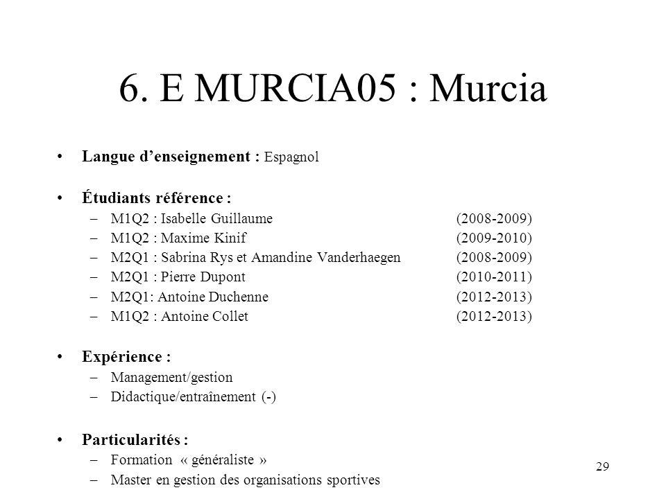 29 6. E MURCIA05 : Murcia Langue denseignement : Espagnol Étudiants référence : –M1Q2 : Isabelle Guillaume (2008-2009) –M1Q2 : Maxime Kinif(2009-2010)