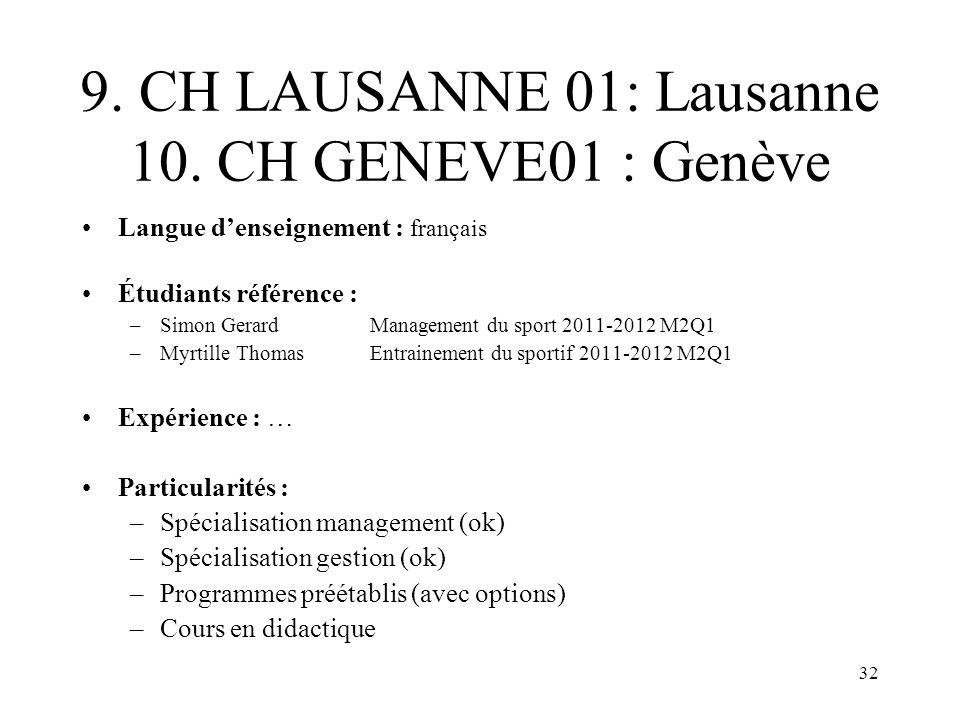 32 9. CH LAUSANNE 01: Lausanne 10. CH GENEVE01 : Genève Langue denseignement : français Étudiants référence : –Simon GerardManagement du sport2011-201