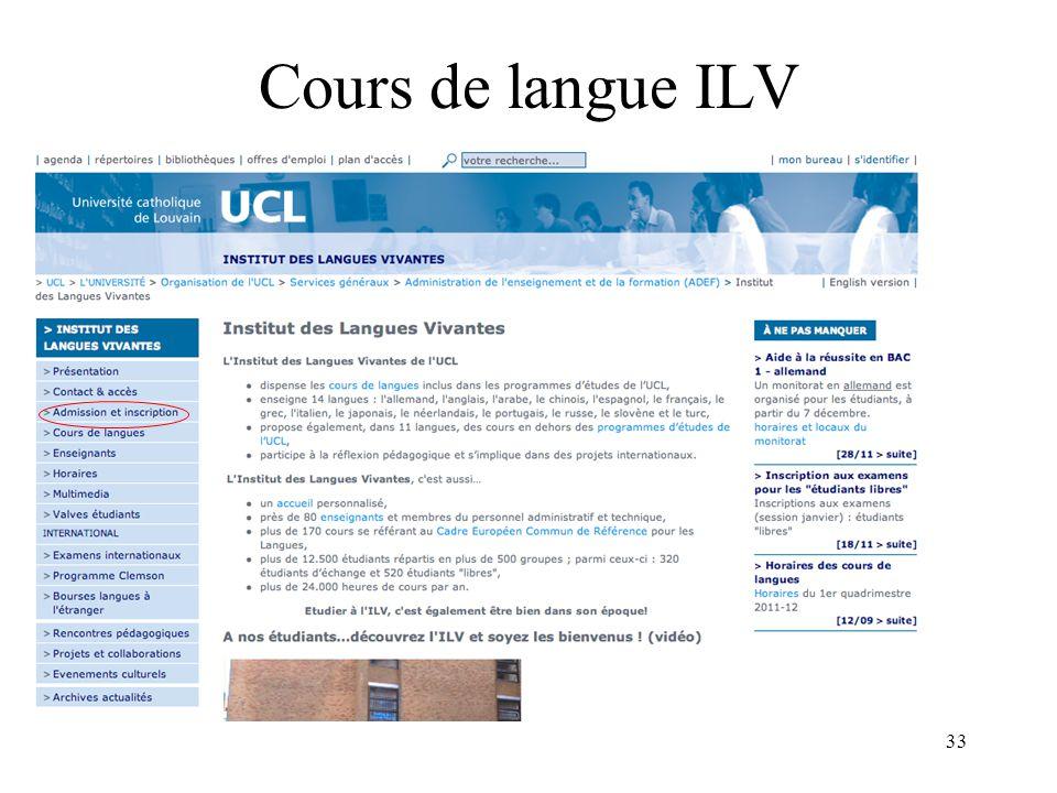 33 Cours de langue ILV