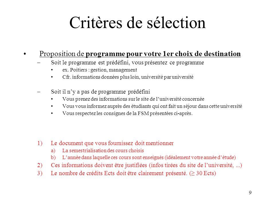 10 Programme M2 (60 Ects) M2 Q1 : programme OUT ( 30 Ects) –Programme spécialisé (option ou finalité) 15 Ects –Complété par Ects selon autre orientation ou projet individuel M2 Q2 : programme FSM ( 30 Ects) –Mémoire 22 Ects –Option/finalité non développéeOUT 8 Ects (partim) Finalité didactique : –M2 Q2 : AGRE (15 Ects dont 44h de stage) + mémoire (22 Ects) Option « motricité et pathologie » –M2 Q2 : Patho (15 Ects) + mémoire (22 Ects) Finalité didactique + option « kiné » départ impossible