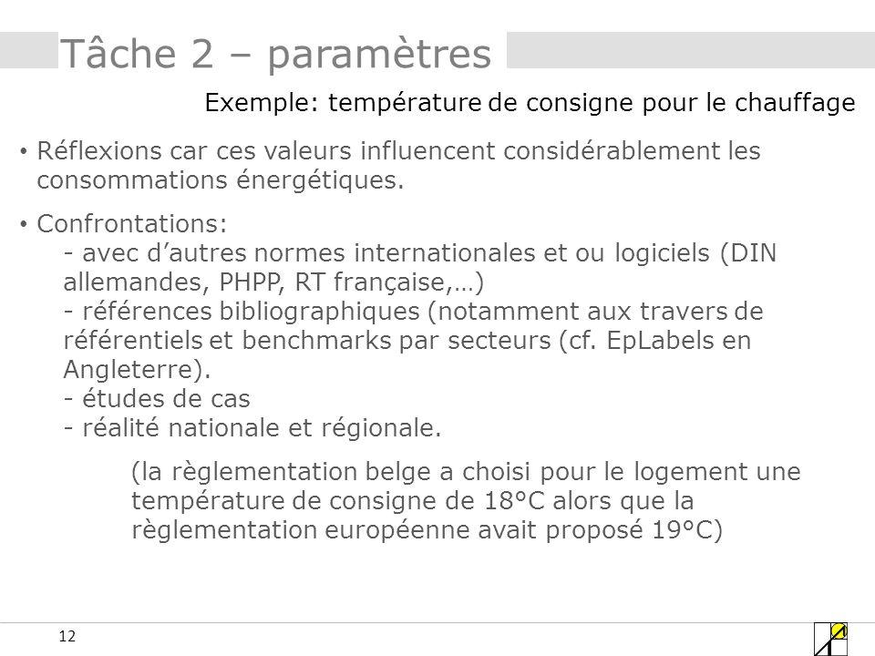 12 Tâche 2 – paramètres Exemple: température de consigne pour le chauffage Réflexions car ces valeurs influencent considérablement les consommations énergétiques.