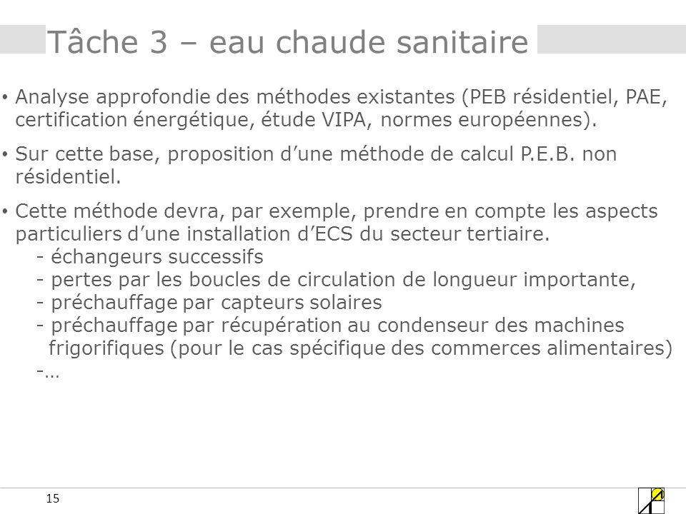 15 Tâche 3 – eau chaude sanitaire Analyse approfondie des méthodes existantes (PEB résidentiel, PAE, certification énergétique, étude VIPA, normes européennes).