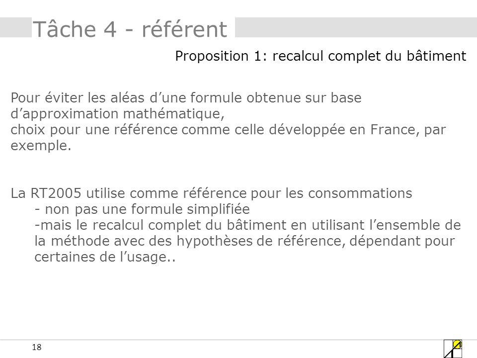 18 Tâche 4 - référent Pour éviter les aléas dune formule obtenue sur base dapproximation mathématique, choix pour une référence comme celle développée en France, par exemple.