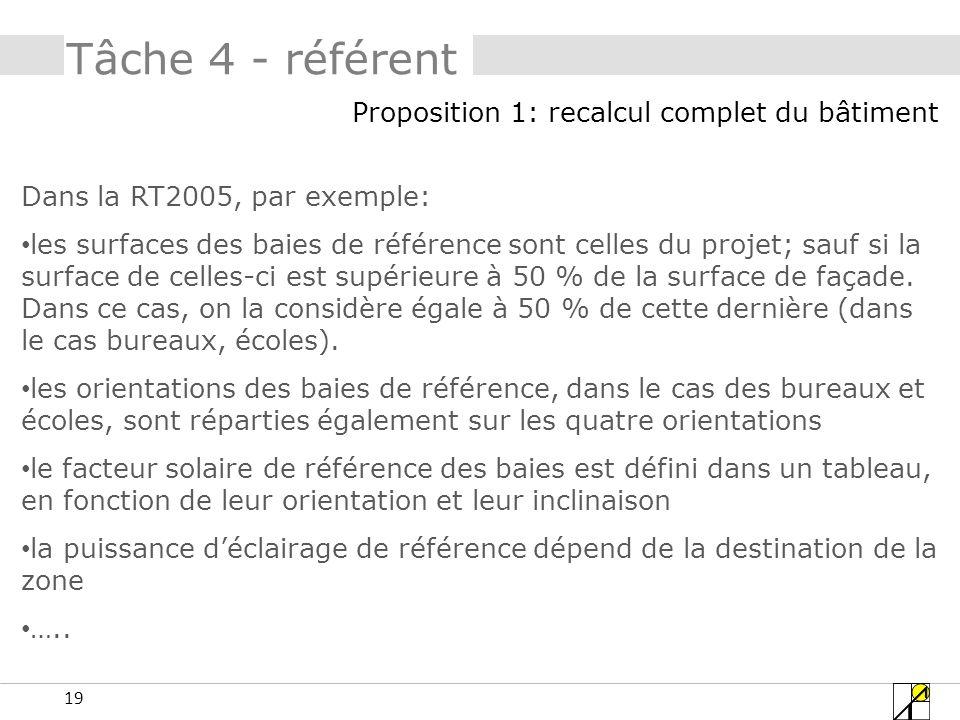 19 Tâche 4 - référent Dans la RT2005, par exemple: les surfaces des baies de référence sont celles du projet; sauf si la surface de celles-ci est supérieure à 50 % de la surface de façade.