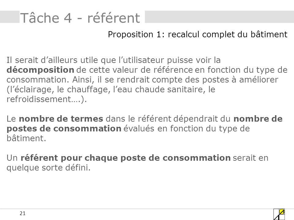 21 Tâche 4 - référent Il serait dailleurs utile que lutilisateur puisse voir la décomposition de cette valeur de référence en fonction du type de cons