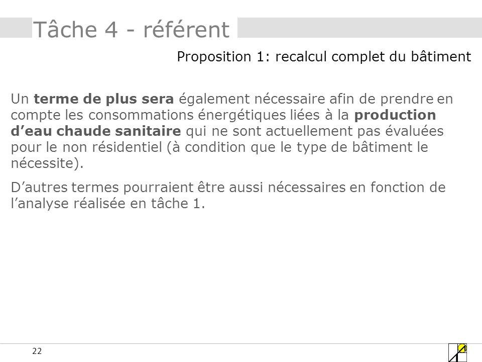 22 Tâche 4 - référent Un terme de plus sera également nécessaire afin de prendre en compte les consommations énergétiques liées à la production deau c