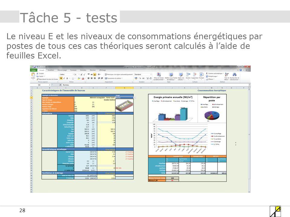 28 Tâche 5 - tests Le niveau E et les niveaux de consommations énergétiques par postes de tous ces cas théoriques seront calculés à laide de feuilles Excel.