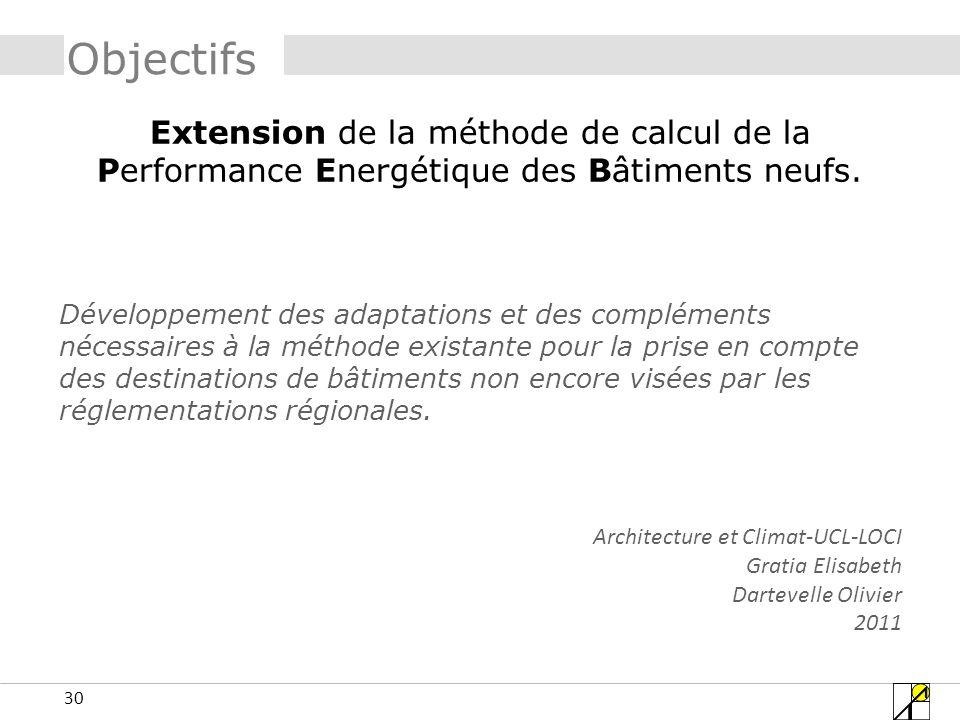 30 Objectifs Extension de la méthode de calcul de la Performance Energétique des Bâtiments neufs. Développement des adaptations et des compléments néc
