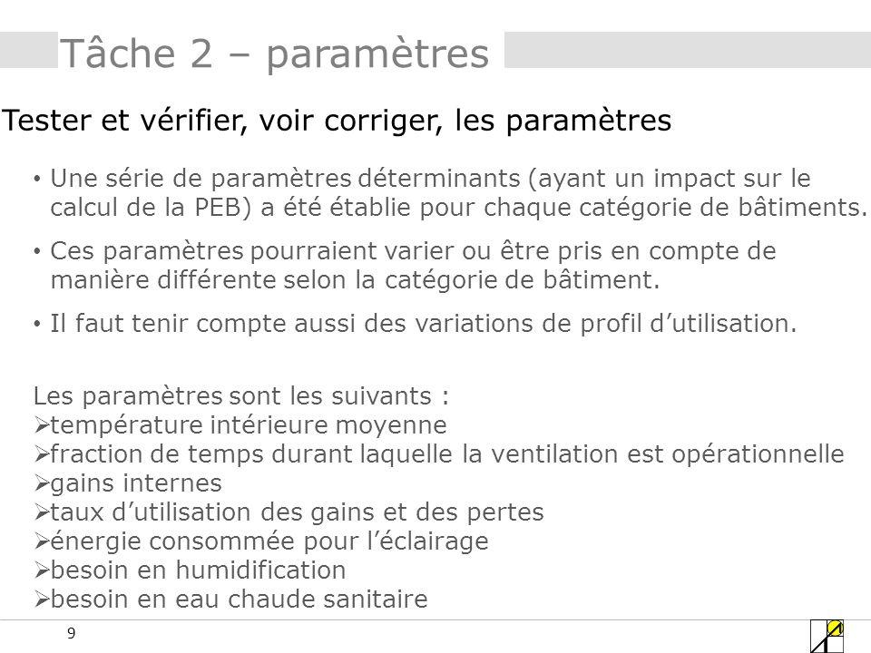 9 Tâche 2 – paramètres Tester et vérifier, voir corriger, les paramètres Une série de paramètres déterminants (ayant un impact sur le calcul de la PEB) a été établie pour chaque catégorie de bâtiments.