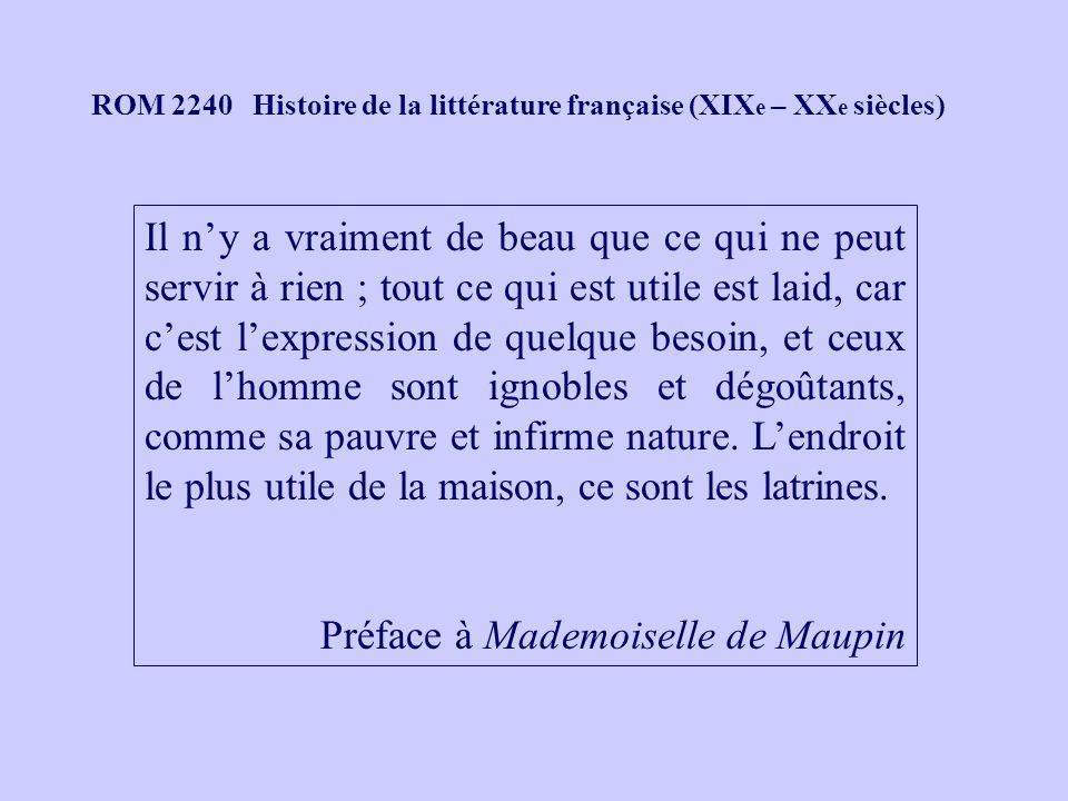 ROM 2240 Histoire de la littérature française (XIX e – XX e siècles) Il ny a vraiment de beau que ce qui ne peut servir à rien ; tout ce qui est utile