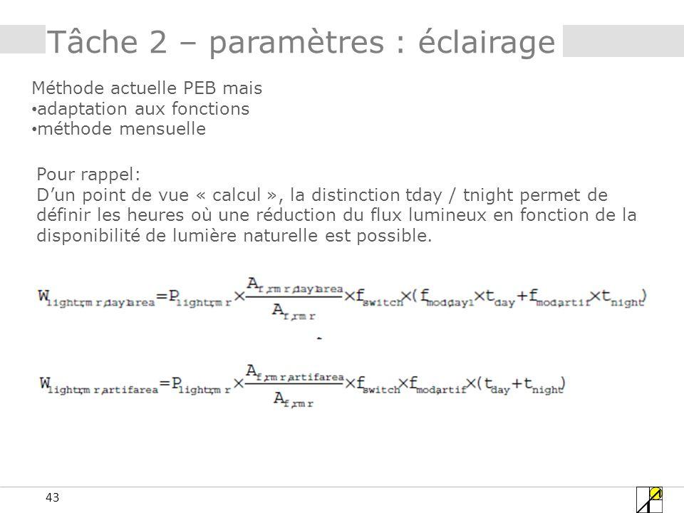 43 Tâche 2 – paramètres : éclairage Méthode actuelle PEB mais adaptation aux fonctions méthode mensuelle Pour rappel: Dun point de vue « calcul », la