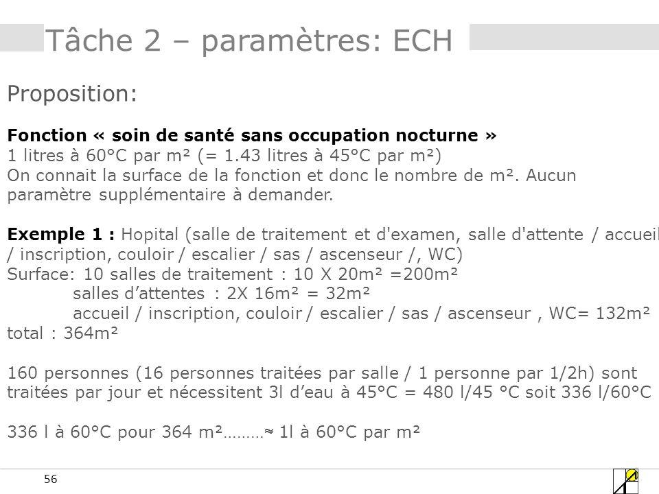 56 Tâche 2 – paramètres: ECH Proposition: Fonction « soin de santé sans occupation nocturne » 1 litres à 60°C par m² (= 1.43 litres à 45°C par m²) On