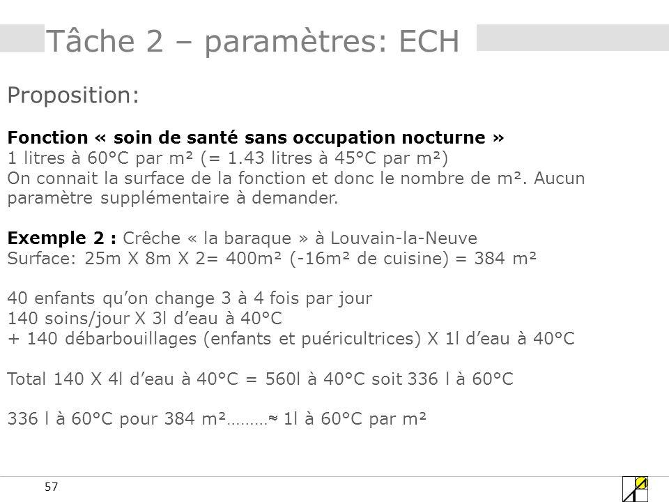 57 Tâche 2 – paramètres: ECH Proposition: Fonction « soin de santé sans occupation nocturne » 1 litres à 60°C par m² (= 1.43 litres à 45°C par m²) On