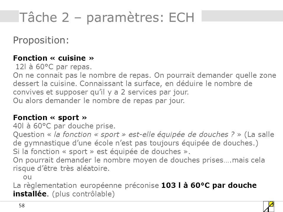 58 Tâche 2 – paramètres: ECH Proposition: Fonction « cuisine » 12l à 60°C par repas. On ne connait pas le nombre de repas. On pourrait demander quelle