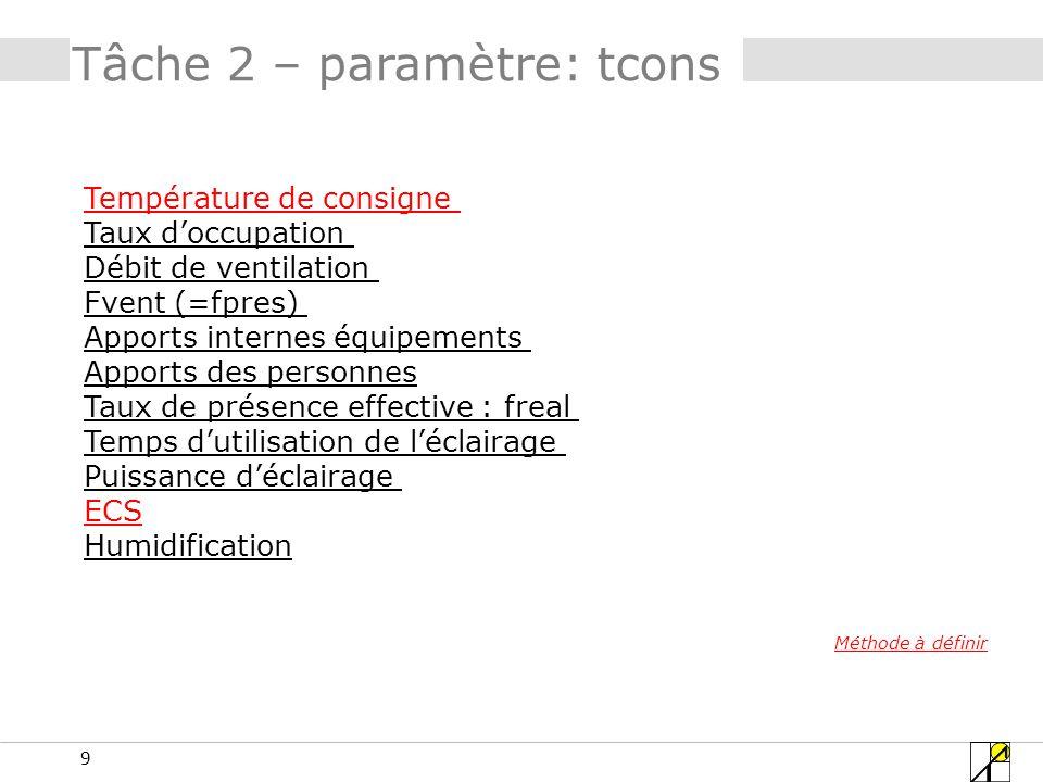 40 Tâche 2 – paramètres: équip.fonction « enseignement » 1 ou 2 W/m²?????.