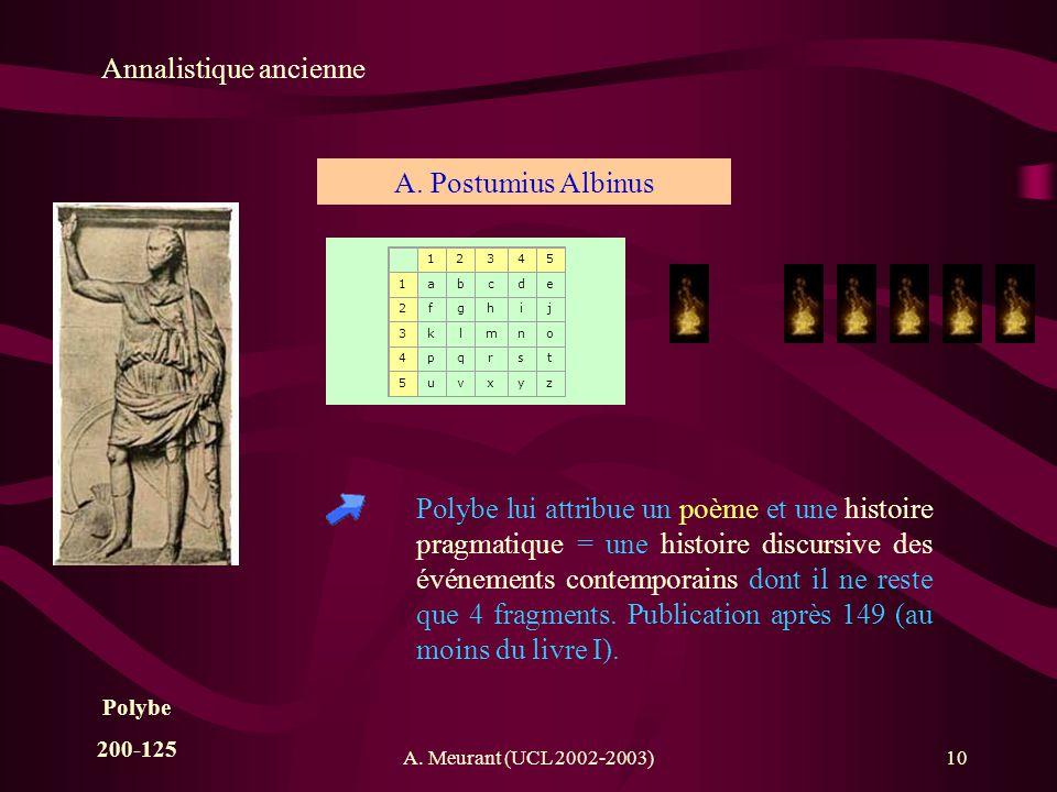 A. Meurant (UCL 2002-2003)10 Annalistique ancienne A. Postumius Albinus Polybe lui attribue un poème et une histoire pragmatique = une histoire discur