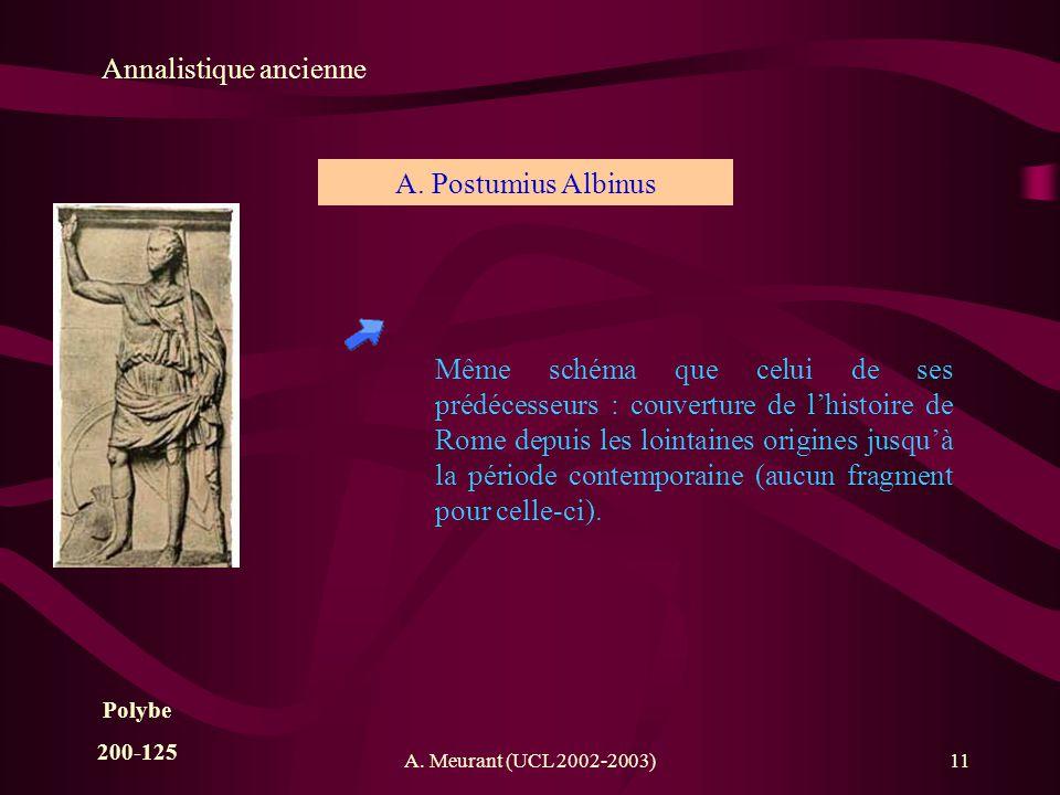 A. Meurant (UCL 2002-2003)11 Annalistique ancienne A. Postumius Albinus Même schéma que celui de ses prédécesseurs : couverture de lhistoire de Rome d