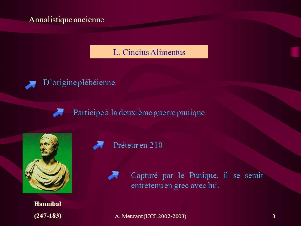A. Meurant (UCL 2002-2003)3 Annalistique ancienne Dorigine plébéienne. L. Cincius Alimentus Participe à la deuxième guerre punique Hannibal (247-183)