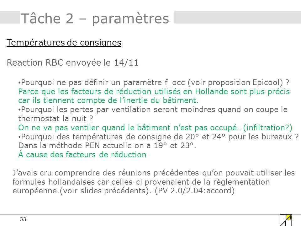33 Tâche 2 – paramètres Températures de consignes Reaction RBC envoyée le 14/11 Pourquoi ne pas définir un paramètre f_occ (voir proposition Epicool)
